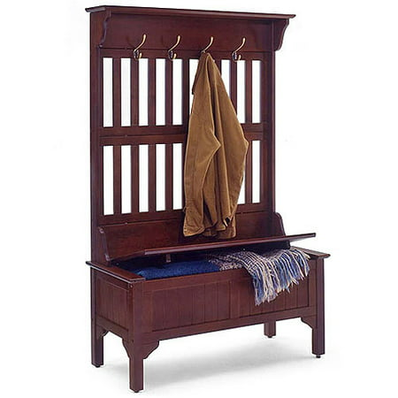 Hall Tree And Storage Bench Multiple Finishes Walmart Com
