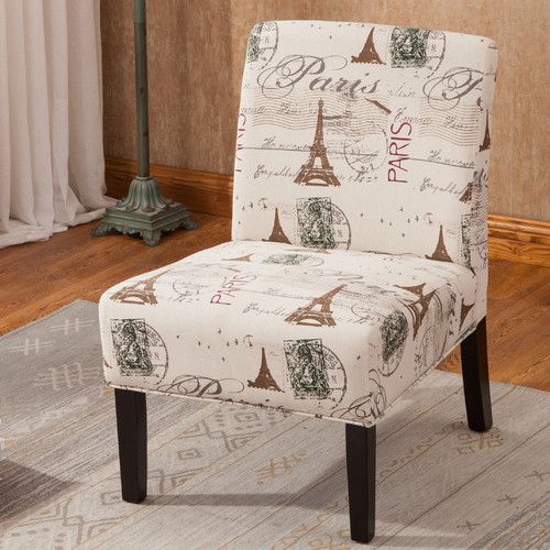 roundhill furniture goodale script linen print fabric armless oversize accent chair