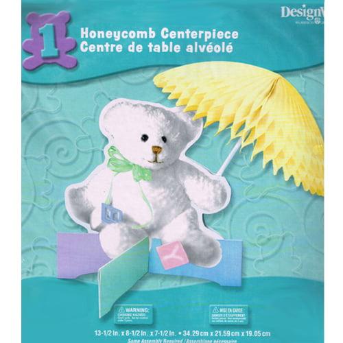 Baby Shower White Teddy Bear Honeycomb Centerpiece (1ct)