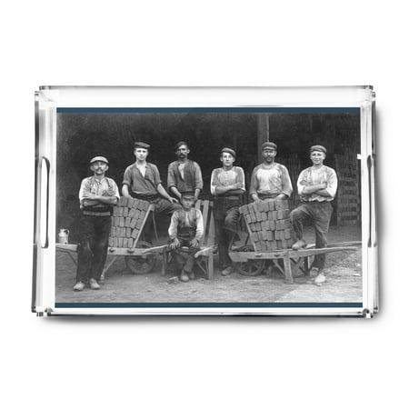 A Team of Bricklayers and Brick Carts (Acrylic Serving Tray) ()