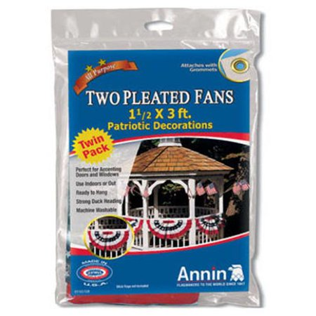 Annin Flagmakers 483160 Mini Patriotic Pleated U.S. Fan - 2 Pack Patriotic Half Fans