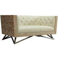 Hawthorne Collections Tufted Fabric Loveseat in Cream