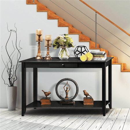 2-Tier Wood Console Table w/Drawer Bottom Shelf Living Room Entryway Black ()