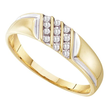 10kt Yellow Gold Mens Round Channel-set Diamond Diagonal Triple Row Wedding Band 1/8 Cttw (Triple Tone Wedding Bands)