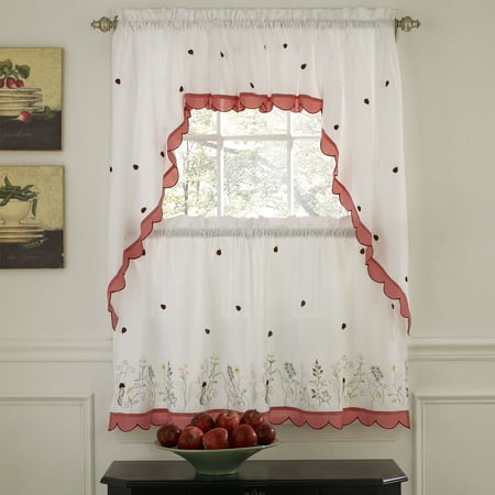 Embroidered Ladybug Meadow Kitchen Curtains 24\
