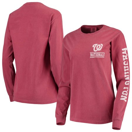 Washington Nationals Soft as a Grape Women's Pigment Dye Comfort Color Long Sleeve T-Shirt - Red Pigment Dye T-shirt