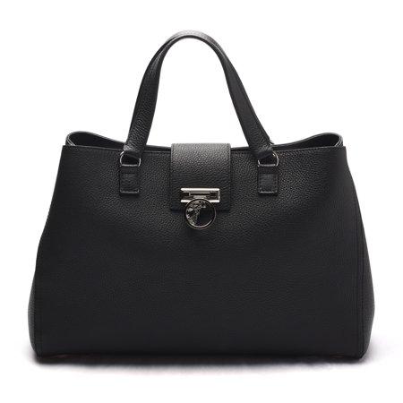 c2ada904759d4 Versace - Versace Collection Women Pebbled Leather Medusa Top Handle  Handbag Satchel Black - Walmart.com