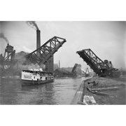 Buy Enlarge 0-587-46150-LP12x18 12th St.  Bascule Bridge lifts to let excursion boat through- Paper Size P12x18