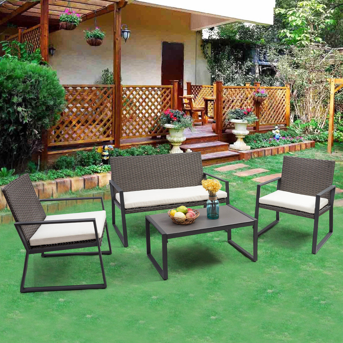 Costway 4PCS Rattan Patio Furniture Set Wicker Cushioned Seat Sofa Garden Lawn Sofa