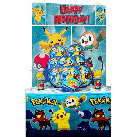 B-THERE Party Pack Bundle of Pokemon Party Supplies, Seats 8 - Napkins, Plates, Cup, Tablecloth and Scene Setter - Pokemon Party Supplies, Deluxe Party Pack - Princess Party Plates And Cups