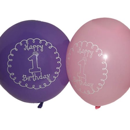 1st Birthday 'Little Princess' Girl Latex Balloons (6ct) - First Birthday Balloon