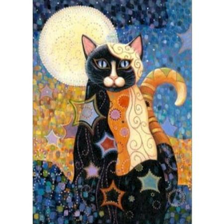 Waxing Moon Cross Stitch - Diamond Painting Embroidery Cross Stitch Full Mosaic DIY Kit Vintage Moon Cat Animal Rhinestone Home Decor