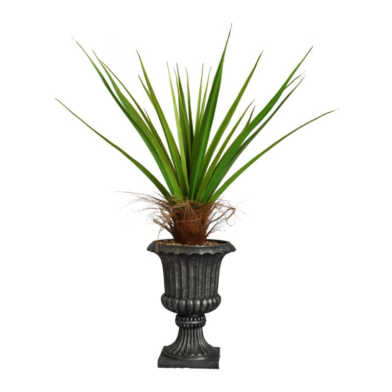Laura Ashley by Vintage Home 58-in Tall Agave Plant with Cocoa Skin in 16-in Fiberstone Planter 42L 42W 57.5H