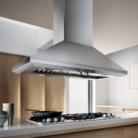 600 Cfm 42 Inch Wide Professional Grade Island Range Hood With Controls And Stainless Steel