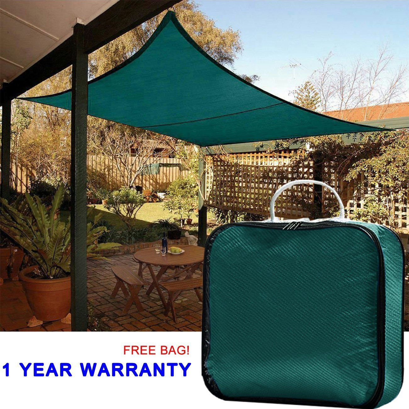 Quictent 185G HDPE 98% Uv-blocked 13 X 10 ft Rectangle Sun Sail Shade Canopy Top Outdoor Cover Patio Garden with Free Carry Bag Blue