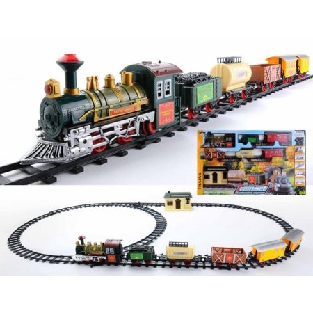 - 18-Piece Battery Operated Lighted & Animated Continental Express Train Set with Sound