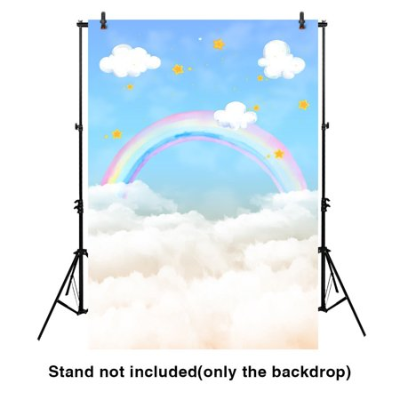 GreenDecor Polyster 5x7ft watercolor rainbow sky photography backdrop for baby shower (Sky Backdrop)