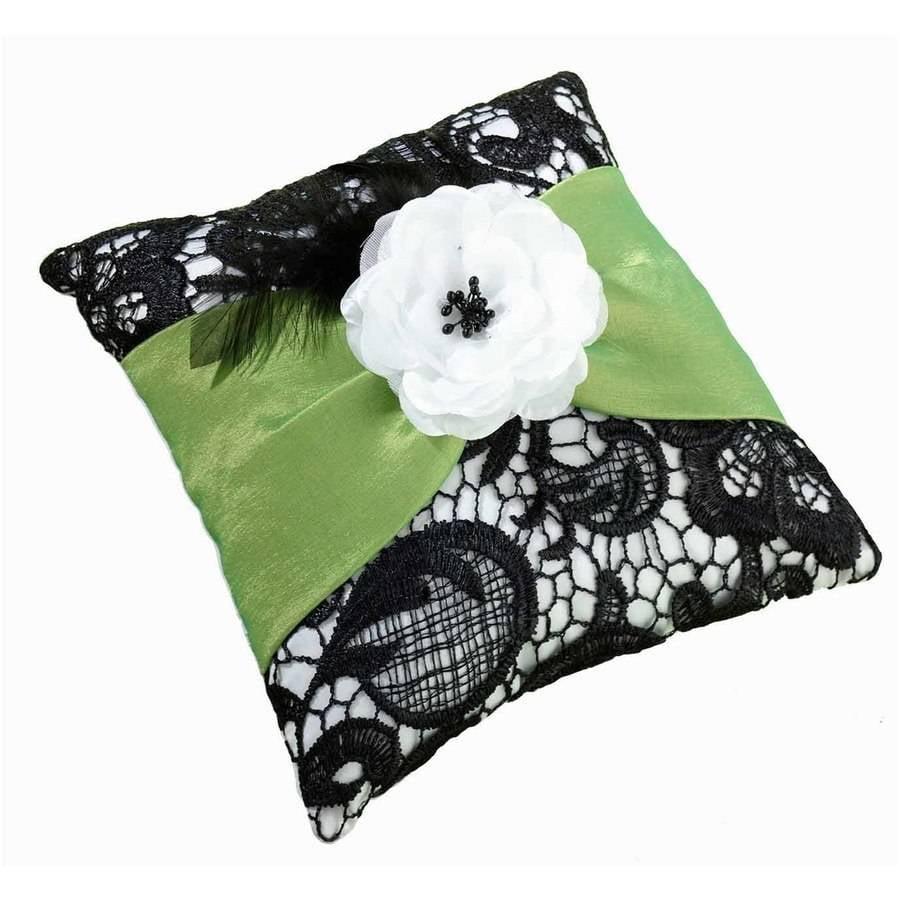 Lillian Rose Green and Black Ring Bearer Pillow