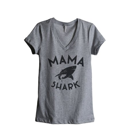 Thread Tank Mama Shark Women's Relaxed V-Neck T-Shirt Tee Heather Grey