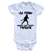 I'm Proof Mommy Can't Resist Firemen Funny Firefighter Baby Onesie