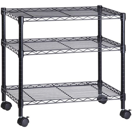 Honey Can Do 3-Shelf Steel Rolling Cart with Locking Wheels, Black