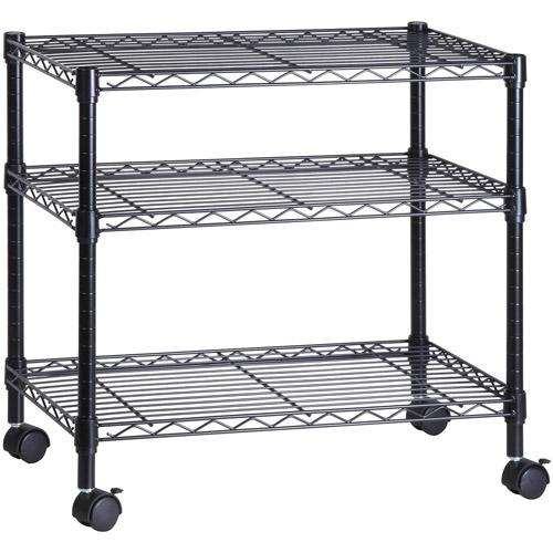 Honey Can Do 3-Shelf Steel Rolling Cart with Locking Wheels, Black