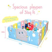 Baby Playpen Kids Activity Centre Safety Play Yard Home Indoor Outdoor Portable Pen (multicolour, Classic set 16 panel)