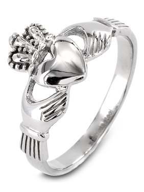 Coastal Jewelry Polished Irish Claddagh Stainless Steel Ring (10mm)