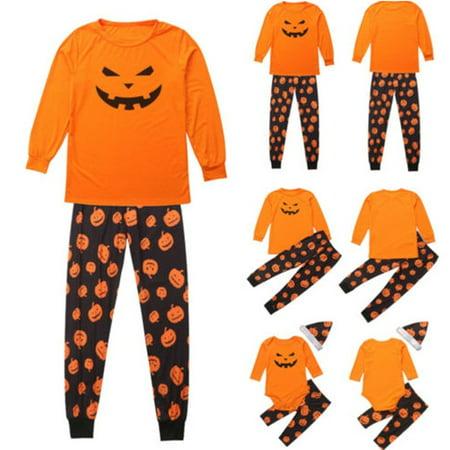 Halloween Family Matching Parents Baby Kid Pajama Sets Pumpkin Sleepwear Nightwear