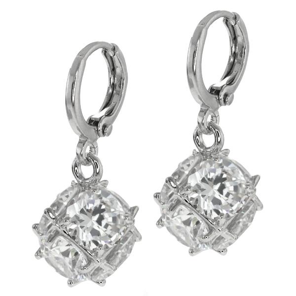 Stunning 18.00 Ct Round Brilliant Cubic Zirconia CZ Dice Shape Dangle Earrings