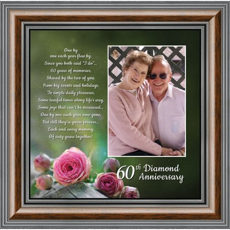 Diamond, 60th Anniversary Picture Frame, Table Decoration for Diamond Anniversary Party, 10x10 6310
