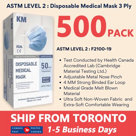 500 PACK Disposable Mask Face Masks Safety Mask Anti Dust for Personal Health 3 Layers Ear Loop - image 1 de 10