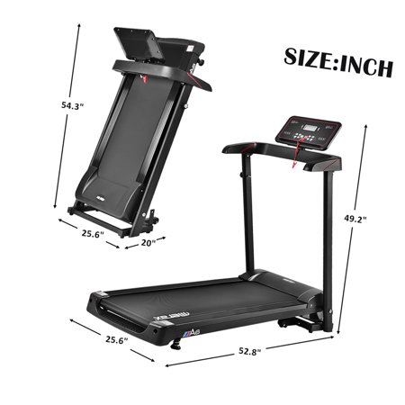 Electric Folding Treadmill Exercise Equipment, Running Machine, Smart Compact Digital Fitness Treadmill w/ 0.5-8 MPH Speed Range, LCD Display, 2.0 HP for Running, Weight Capacity of 260 LBS, Q2106 (Treadmill Sole 80)