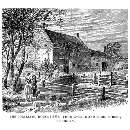Brooklyn Dutch House Nthe Cortelyou House 1699 At What Is Now The Corner Of Fifth Avenue And Third Street Brooklyn New York Wood Engraving 19Th Century Rolled Canvas Art     24 X 36