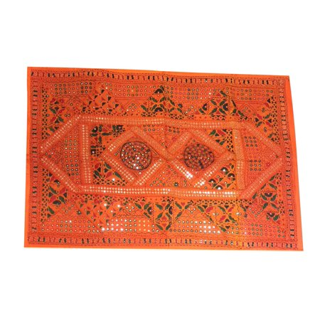 Mogul Bohemian Geometric Banjara Tribal Mirrors Embroidered Artisan Vintage Orange Patchwork Sari Tapestry Wall Hanging Sequin Sari Tapestry