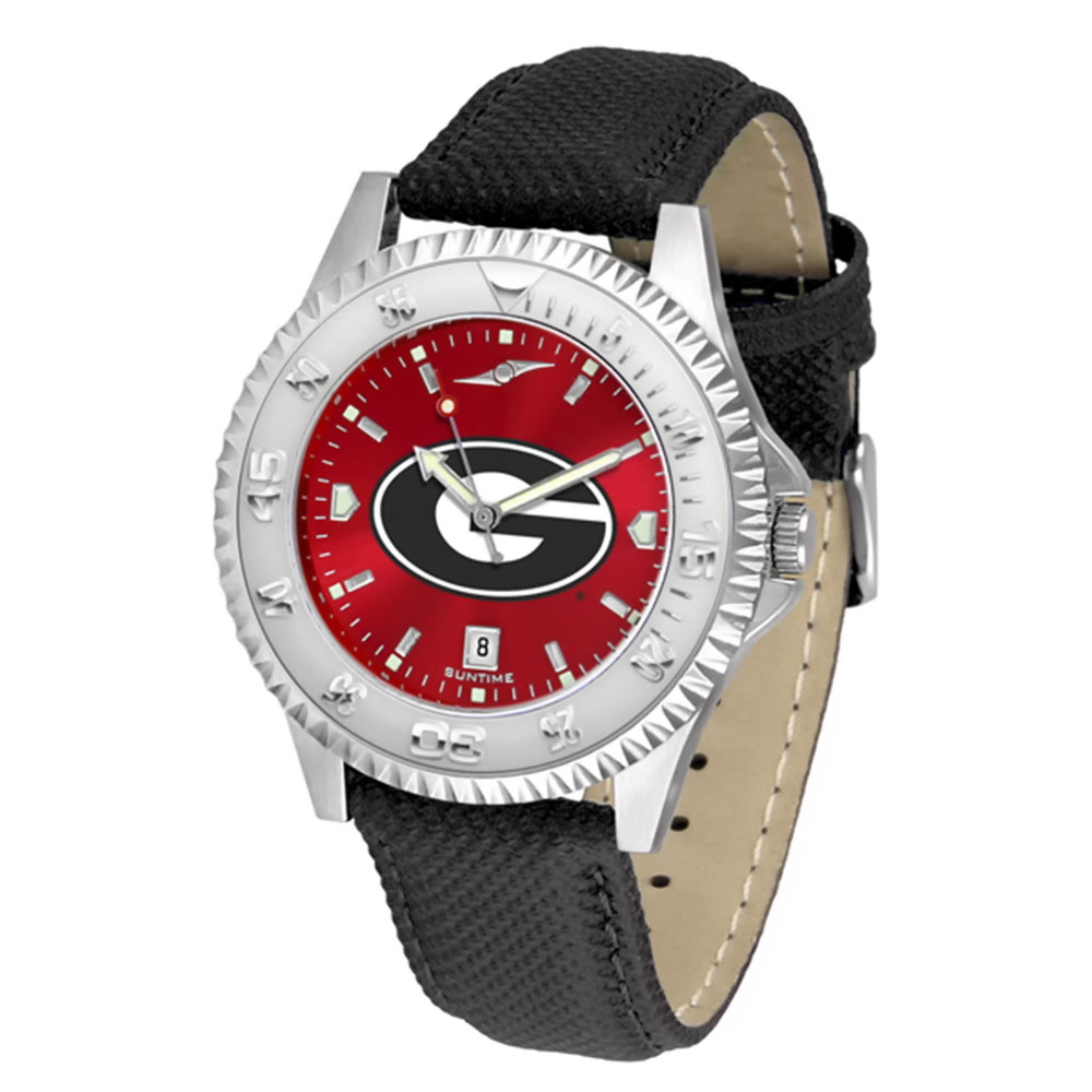 "Georgia Bulldogs NCAA Anochrome ""Competitor"" Mens Watch (Poly/Leather Band)"