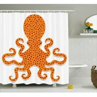 Kraken Shower Curtain, Cute Spotty Octopus Pattern in Vivid Colors Marine Monster Kids Nursery Theme Print, Fabric Bathroom Set with Hooks, Orange, by Ambesonne