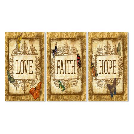 The Stupell Home Decor Collection Love Faith Hope Tapestry Wall Plaque - Set of 3 ()