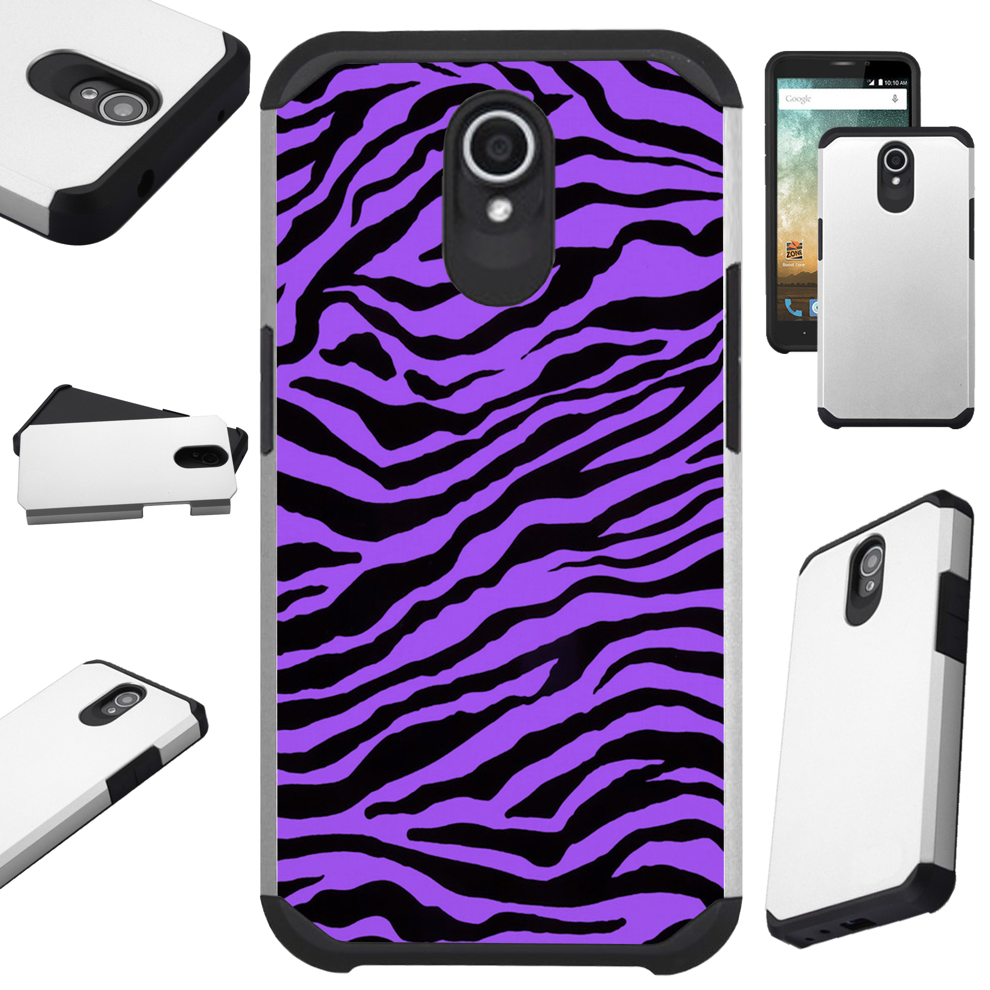 Compatible Alcatel idealXTRA | 1X Evolve (2018) | TCL LX Phone Case Hybrid TPU Fusion Cover (Purple Zebra Skin)