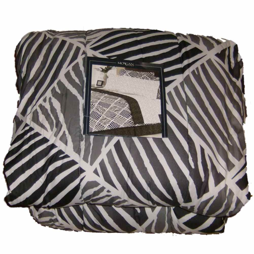 Morgan Home Twin Bed in a Bag Black Gray Zebra Comforter Set Sheets Shams 5 pc
