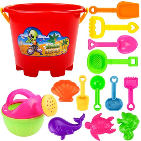 Tuscom 14pcs Beach Tools Set Sand Playing Toys Kids Fun Water Beach Seaside Tools Gifts