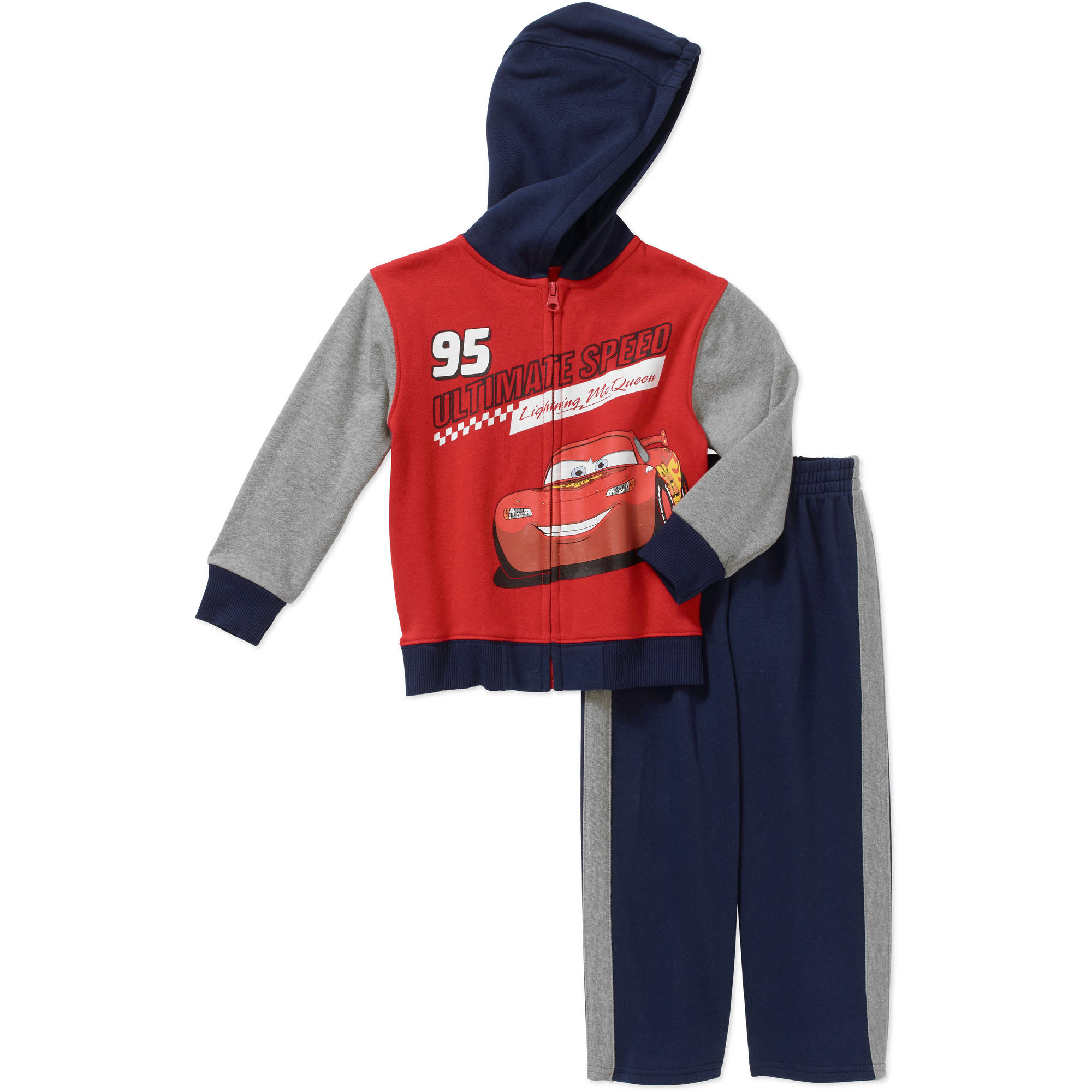 Disney Cars Baby Toddler Boy Zip Fleece Hoodie and Pants Outfit Set