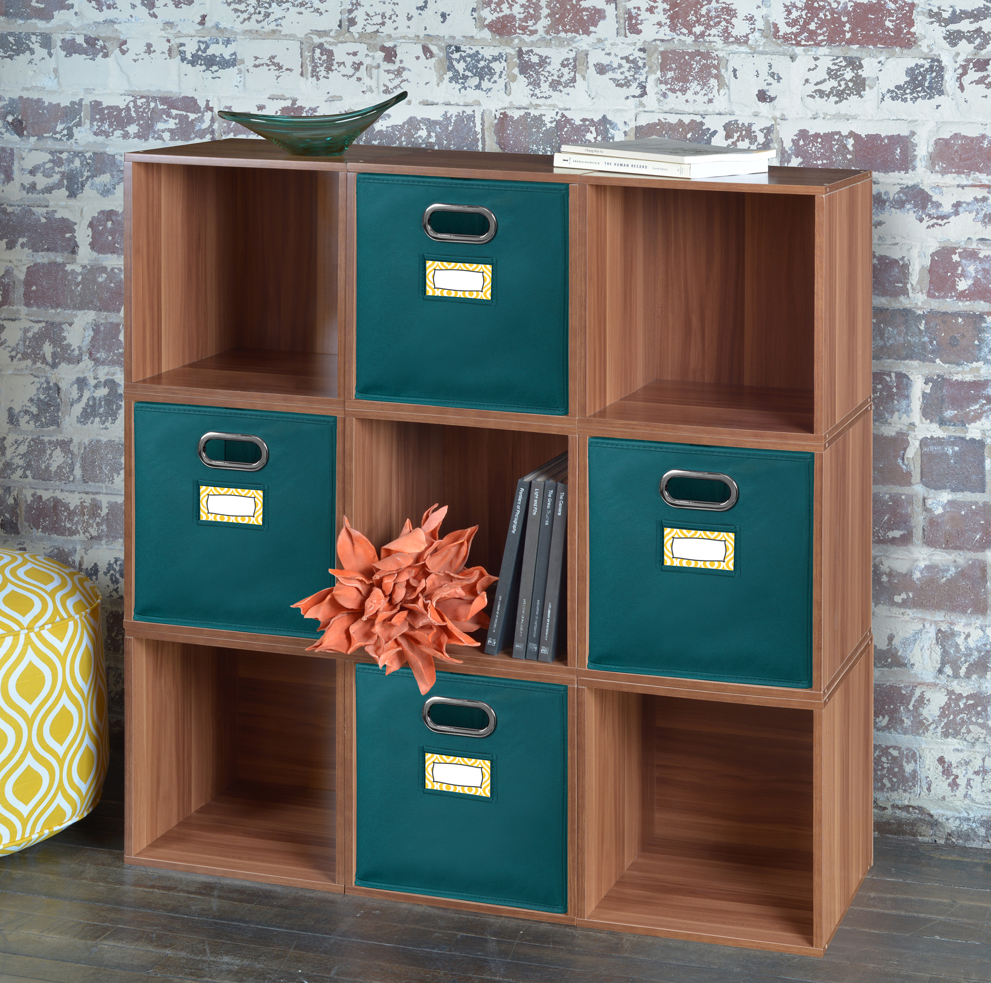 Niche Cubo Set of 4 Foldable Fabric Storage Bins- Teal by Regency
