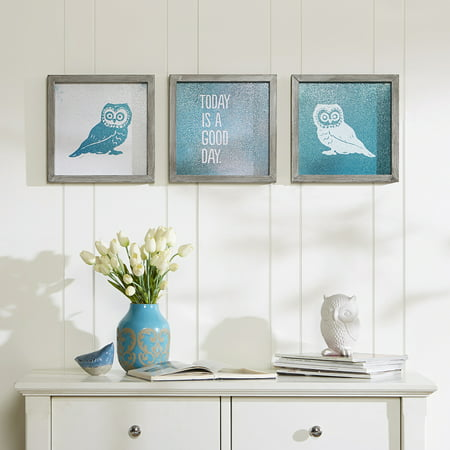 Home Essence Apartment Wise As An Owl Framed Gel Coat 3 Piece Set