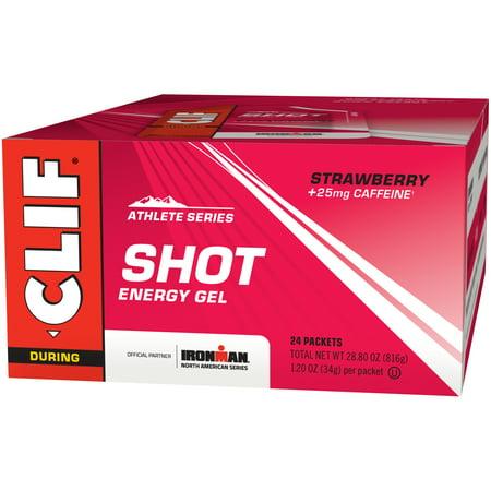 Clif Shot Energy Gel, Strawberry, 1.2 FL Oz, 24 Ct