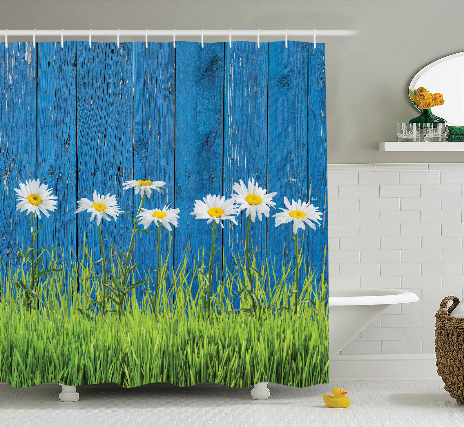 Flower Decor Fresh Spring Grass And Daisy On A Fence Summer Simple ...