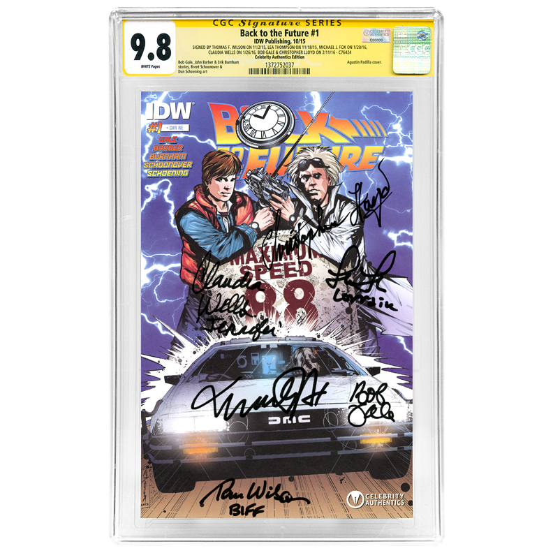 Michael J. Fox, Christopher Lloyd, Tom Wilson, Lea Thompson, Claudia Wells and Bob Gale Autographed Back to the Future #1 CGC SS Signature Series 9.8 Comic