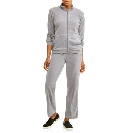 Cascade Blue Women's Velour Full Zip Jacket and Pant Tracksuit - Velour Jog Sets