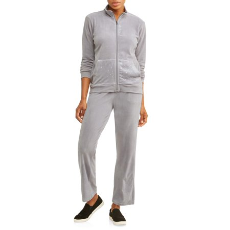 Cascade Blue Women's Velour Full Zip Jacket and Pant Tracksuit