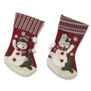 """20""""H Plush Snowman Holiday Stocking (Set of 2 Assorted)"""